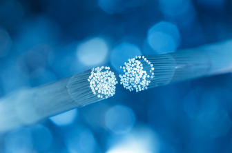 two halves of a fiber optic cable